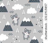 cat seamless pattern background ... | Shutterstock .eps vector #1311915857