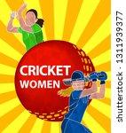 batswoman and bowler playing... | Shutterstock .eps vector #1311939377