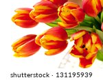 Red tulips flowers bouquet. selective focus - stock photo