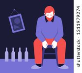 an alcoholic is sitting on a... | Shutterstock .eps vector #1311979274