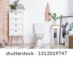 modern interior of restroom...   Shutterstock . vector #1312019747
