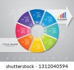 modern 8 steps pie chart ... | Shutterstock .eps vector #1312040594