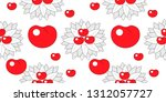 seamless pattern leaves and... | Shutterstock .eps vector #1312057727