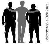black silhouette three men... | Shutterstock .eps vector #1312083824
