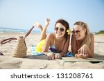 two female friends having fun... | Shutterstock . vector #131208761