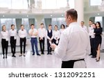 briefing at the restaurant. the ... | Shutterstock . vector #1312092251