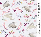 Stock photo seamless watercolor floral pattern with running hares delicate design for a nursery in pastel 1312140227