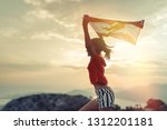 happy child teenage girl waving ... | Shutterstock . vector #1312201181