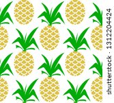 pineapple seamless colorful... | Shutterstock . vector #1312204424
