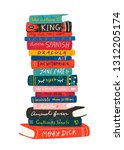 world book day. big stack of... | Shutterstock .eps vector #1312205174