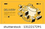global postal mail delivery... | Shutterstock . vector #1312217291