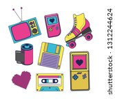 90s decade set icons | Shutterstock .eps vector #1312244624