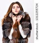 pretty fashionista. fur fashion ... | Shutterstock . vector #1312255724