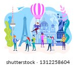 conversation with the guide ... | Shutterstock .eps vector #1312258604