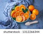 fresh sliced oranges   fruits... | Shutterstock . vector #1312266344