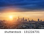 Sunrise Over Los Angeles City...