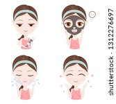 how to use clay mask on your... | Shutterstock .eps vector #1312276697