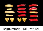 set of gold  living coral and... | Shutterstock . vector #1312294421