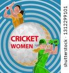batswoman and bowler playing... | Shutterstock .eps vector #1312299101