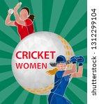 batswoman and bowler playing... | Shutterstock .eps vector #1312299104