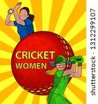 batswoman and bowler playing... | Shutterstock .eps vector #1312299107