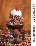 a chocolate ice cream sundae... | Shutterstock . vector #1312301534