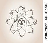 atom made of objects of science.... | Shutterstock .eps vector #1312316531