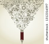 the pencil writes a science. a... | Shutterstock .eps vector #1312316597