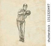 bowling   an sportman. an hand... | Shutterstock . vector #1312320497