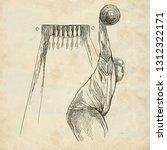 bowling   an sportman. an hand... | Shutterstock . vector #1312322171