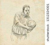 bowling   an sportman. an hand... | Shutterstock . vector #1312324301