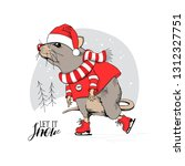 cartoon little mouse in a red... | Shutterstock .eps vector #1312327751