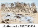 landscape  countryside. an hand ... | Shutterstock . vector #1312330334