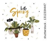 hello spring poster in vector.... | Shutterstock .eps vector #1312334447