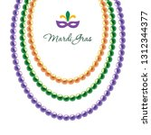 mardi gras beads necklace... | Shutterstock .eps vector #1312344377
