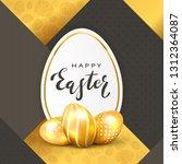 three golden easter eggs and... | Shutterstock . vector #1312364087