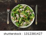 Stock photo salad with herring and lemon fillet paleo diet keto diet pegan diet healthy fitness salad with 1312381427