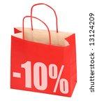 shopping bag with -10% sign on white background, photo does not infringe any copyright - stock photo