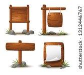 set of cartoon wooden planks or ... | Shutterstock .eps vector #1312446767