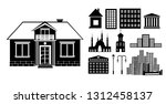 building silhouettes set. vector | Shutterstock .eps vector #1312458137