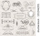 vector set of calligraphic... | Shutterstock .eps vector #131246201