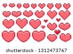 hearts. pixel art | Shutterstock .eps vector #1312473767