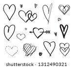 hand drawn grunge hearts on... | Shutterstock .eps vector #1312490321
