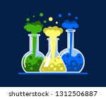 three laboratory flasks. test... | Shutterstock .eps vector #1312506887