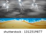 a thunderstorm scene at beach... | Shutterstock .eps vector #1312519877