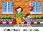 mother and child crossing the... | Shutterstock .eps vector #1312522007