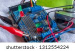 microcontroller build closeup... | Shutterstock . vector #1312554224