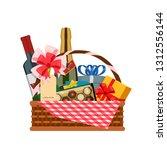 present basket full of gifts.... | Shutterstock .eps vector #1312556144