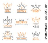outline crowns logo set. luxury ... | Shutterstock .eps vector #1312558184