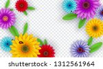 colorful gerbera daisy flowers... | Shutterstock .eps vector #1312561964